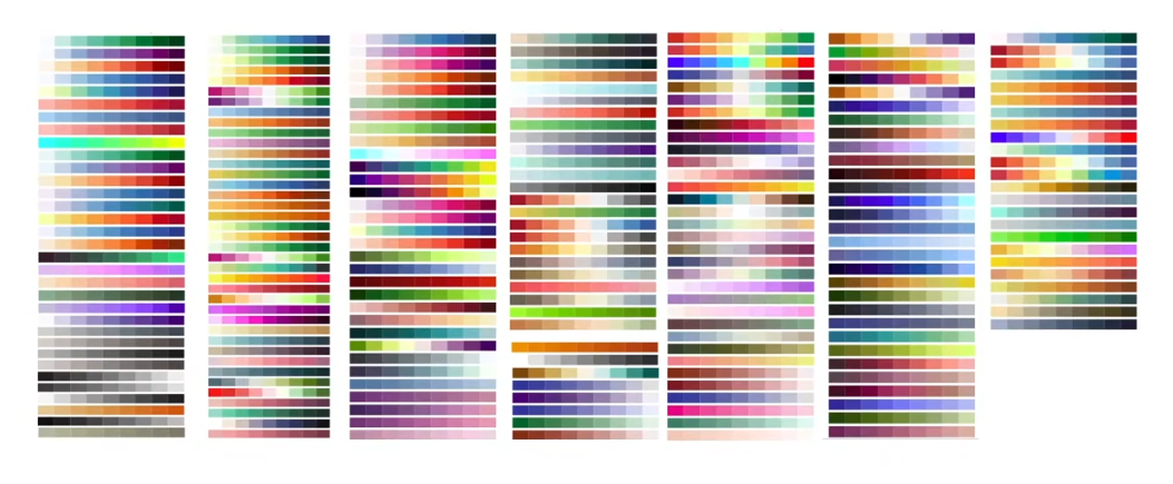 A screenshot of many designer color ramps